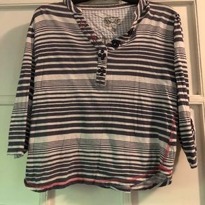 Nine West Blue and White Striped 3/4 Sleeve Shirt